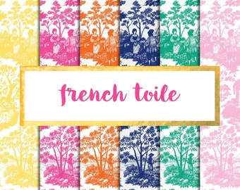Buy2Get1Free with Code XMASINJULY! French Toile Digital Paper Pack (Instant Download)