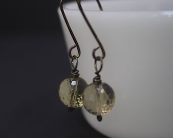 Antiqued Smoky Quartz Glass  Silver Dangling Earrings