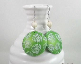 Greenery dangle earrings with white flower print | beaded botanical jewelry