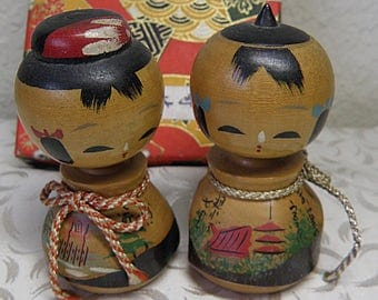 Man and Woman  Kokeshi Dolls with Painted Shrines, Bobble Heads