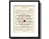 Your Song by Elton John Spiral Lyric Sheet Music Art Print, Love Song Art, First Dance Art, Names and Date, Custom Wedding & Anniversary