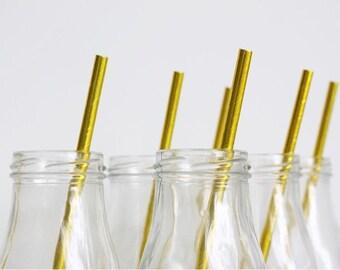 Gold Foil Paper Straws, Baby Shower, Bridal Shower, Wedding, Birthday, Paper straws