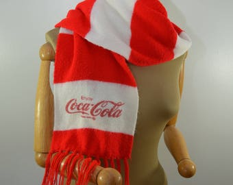 Vintage COCA COLA winter scarf red and white stripes