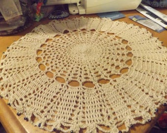 Off-white cotton Doily with glass beads