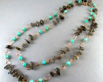25OFF Labradorite and Blue Amazonite Gold Filled Wire Wrapped Necklace