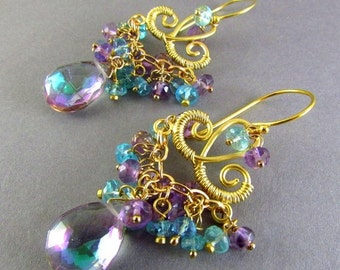 25OFF Mystic Quartz, Pink Amethyst and Apatite Chandelier Earrings, Exotic, Boho