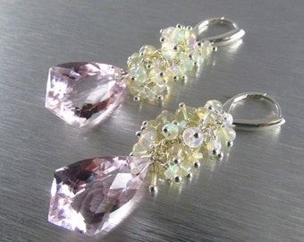 25OFF Pink Topaz With Ethiopian Opal  Sterling Silver Lever back Earrings