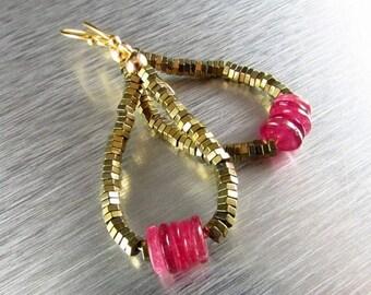 25% Off Pink Sapphire Hoop Earrings,Sapphire and Hematite Earrings Hematite
