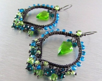 25 % OFF Colorful Wire Wrapped Hoops With Blackened Metal and Neon Gemstones