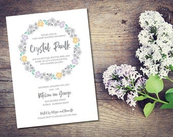 floral wreath baby shower invitations lavender teal yellow botanical print flower bouquet shower invites custom shower invitations for her