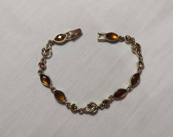 Vintage Honey Amber & Gold Tone Rhinestone Bracelet