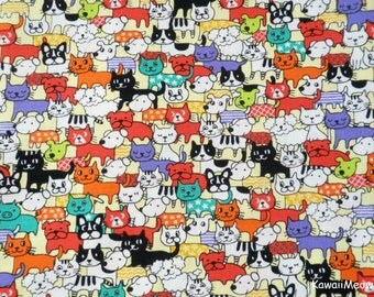 Kawaii Japanese Fabric - Cats & Dogs on Orange - Fat Quarter (no20161110)