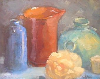 Traditional Still Life Painting, Small Still Life Painting, 8x10 Original Oil Painting