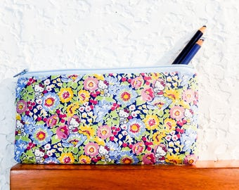 Blue Floral Zipper Pouch, Liberty of London Fabric Pouch, Pencil Case, Coin Purse, Pouch, Liberty Zipper Case, Mothers Day Gift, Kitty Pouch