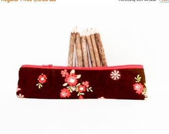 ON SALE Pencil Case, Pencil Pouch, Zipper Pouch, Fabric Pouch, Pouch, Long Pencil Case, Zipper Case, Fabric Zipper Case, Brown Pouch, Floral