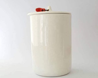 Mid-Century White Ceramic Container by Tackett, Genuine Ironstone, 1950's