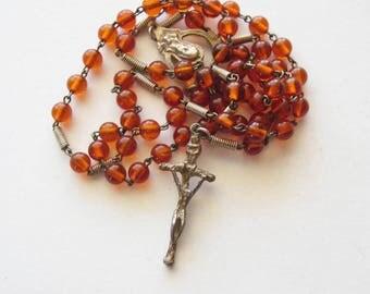 Vintage  Amber Brown Plastic Rosary