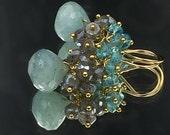 Aquamarine Earrings Gemstone Cluster Earrings Mystic Labradorite 14kt Gold Fill Wire Wrap Handmade Jewelry Blue Grey Earrings