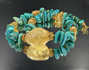Chunky Turquoise Necklace - Citrine Gold Choker Necklace Citrine Turquoise Statement Bohemian Luxe Fashion November December Birthstone