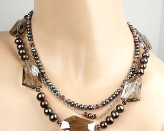 50% SALE Smokey Quartz Necklace, Triple Strand Pearl Statement Choker Collar Luxury Fashion, Bohemian Jewelry
