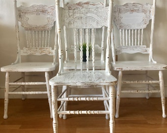 vintage painted white and distressed wood rustic dining chairs set 4