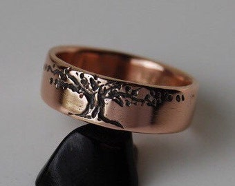 Wedding Band, Tree design 6MM Gold Women's 14K Rose, yellow gold or white Tree of Life  4 to 7 family tree