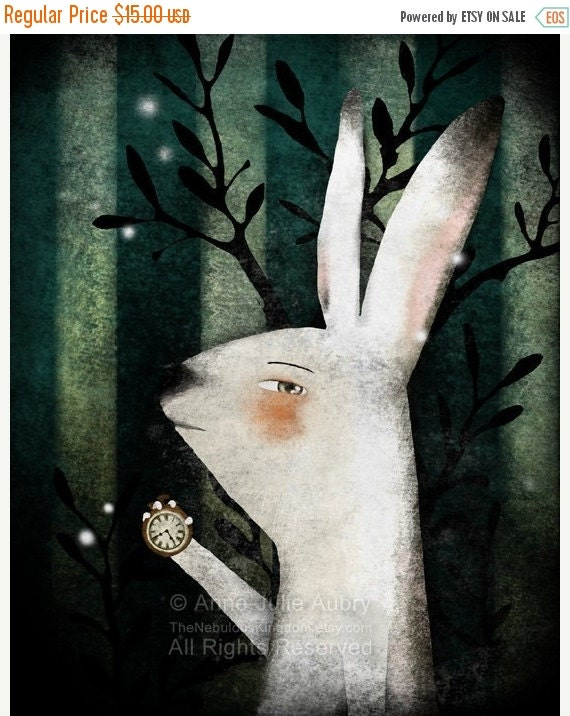 20% OFF - Special Offer - The White Rabbit (Alice in Wonderland) - open edition print
