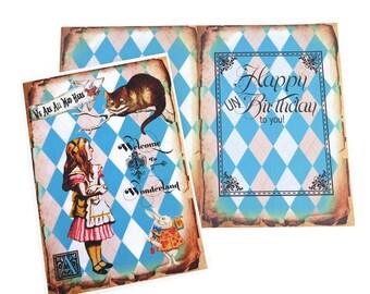 Alice in Wonderland, Birthday Card, Cheshire Cat, Tea Party, Eat me,Children Fairytale, Playing Cards, Retro Vintage, Happy Un Birthday