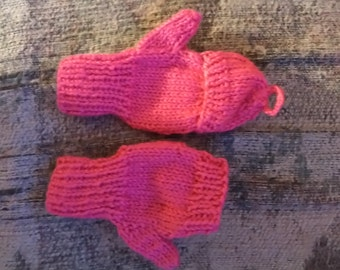 Knitted Kid's Hot Pink Convertible Mittens Size 6 Year Old