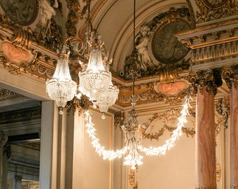Paris Photography, Paris Chandelier, Musee D'Orsay, Francophile, Wall Art, Gold, Chandelier, Rebecca Plotnick Photography, French