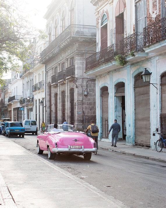 Cuba Photography, Pink Taxi in Havana, Streets of Cuba ,Travel Photography, Color Photography, Wanderlust, Old Havana, Visit Cuba
