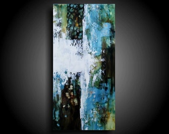 Large Abstract Painting 30 x 15 Modern Canvas Wall Art Encaustic Painting Zen Painting Masculine Interior Design Texture Painting