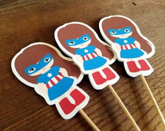 Superhero Girls Party Collection - Set of 12 Captain America Girl Cupcake Toppers by The Birthday House