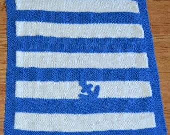 anchor blanket, crocheted anchor, blanket beach decor, nautical blanket