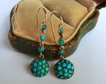 SALE Victorian Turquoise Dangle Earrings Gilt 800 Silver ca 1890