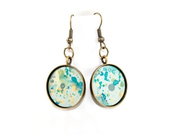 Splatter Painted Dangle Earrings - Acrylic in Round Brass Setting - Caribbean Waters Colorway: Aqua, Turquoise, Gold, Green