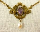 Antique Art Nouveau Brass Glass Baroque Pearl Dangle Necklace