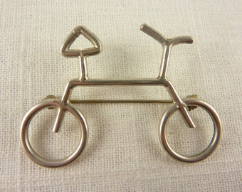 Vintage Sterling Silver Bicycle Brooch