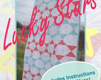 Lucky Stars  - A Modern Star Quilt Pattern for Beginners PDF Download