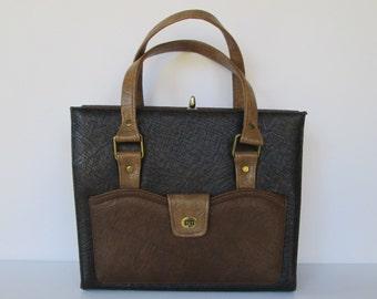 Berne' Black & Brown Satchel Handbag