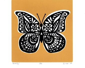 Butterfly Limited Edition Screen Print (Saffron Yellow) A4 size