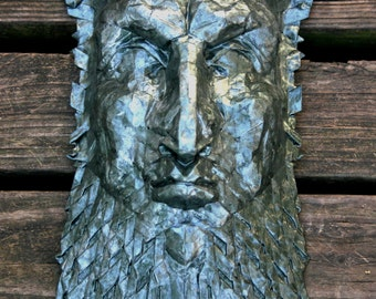 Tiresias - large origami sculpture with a greenish pewter glaze