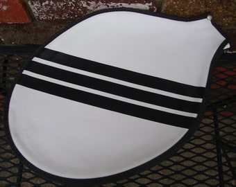 Vintage tennis racket cover/case with zipper/white with black stripes