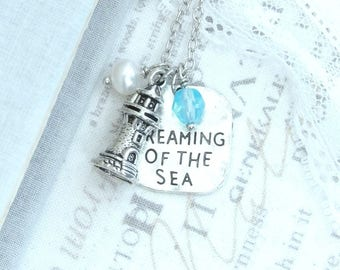 Sea Pendant Necklace Lighthouse Necklace Nautical Charm Necklace Lighthouse Jewelry Sea Gift