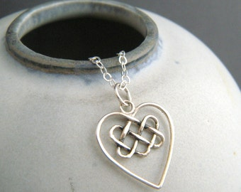 sterling silver celtic knot heart necklace yoga yogi pendant small wire braid pattern pendant simple oxidized rustic antiqued jewelry gift
