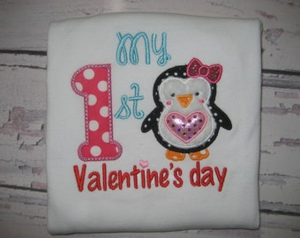My First Valentines Day Penguin Valentine bodysuit