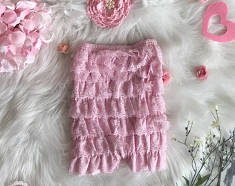 Valentine's Day Pink Lace Romper and flower headband SALE PriCEd ...ReaDy to SHiP...Baby romper. Petti romper...Lace Bloomers..