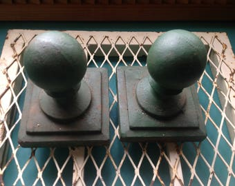 pair of  vintage heavy duty cast iron forest green ball finials- Architecturial salvage