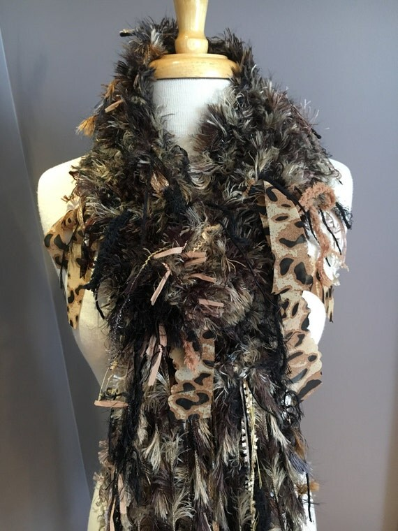 Fringed knit Fashion Scarf, Cheetah print, Dumpster Diva Faux fur Knit Fringed Scarf in cream, brown, gold, black for women, fashion, fringe