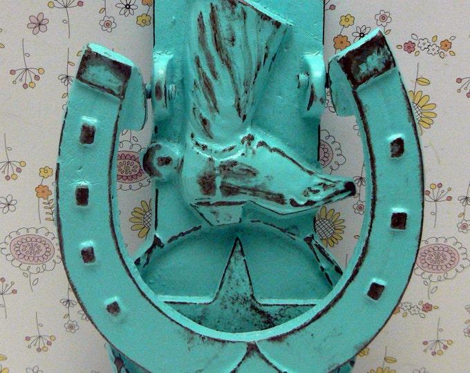 Cowboy Boot Horseshoe Cast Iron Door Knocker Shabby Chic Turquoise Home Decor